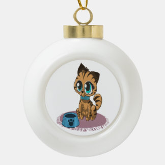 Adorable playful fluffy cute kitten with cat eyes ceramic ball christmas ornament