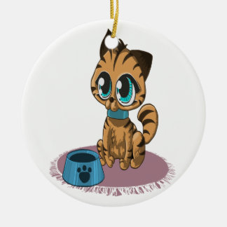 Adorable playful fluffy cute kitten with cat eyes ceramic ornament
