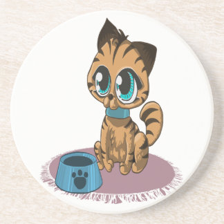 Adorable playful fluffy cute kitten with cat eyes coaster