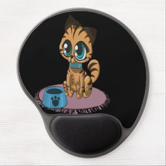 Adorable playful fluffy cute kitten with cat eyes gel mouse pad