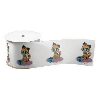 Adorable playful fluffy cute kitten with cat eyes satin ribbon