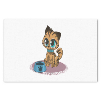Adorable playful fluffy cute kitten with cat eyes tissue paper