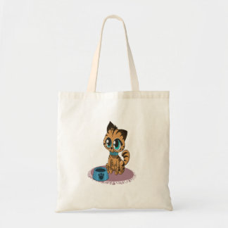 Adorable playful fluffy cute kitten with cat eyes tote bag