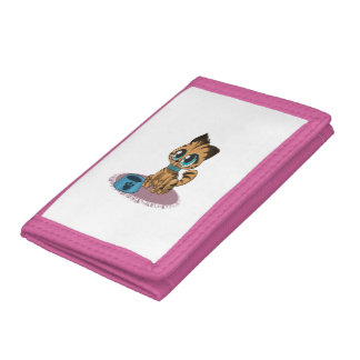 Adorable playful fluffy cute kitten with cat eyes tri-fold wallet