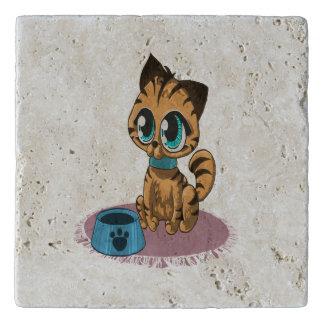 Adorable playful fluffy cute kitten with cat eyes trivet