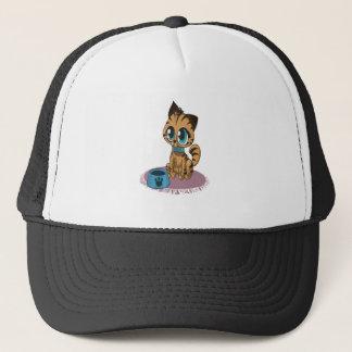 Adorable playful fluffy cute kitten with cat eyes trucker hat