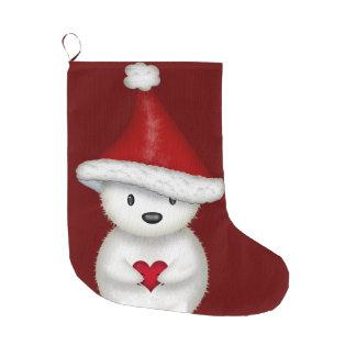 Adorable Polar Bear with Heart Christmas Stocking