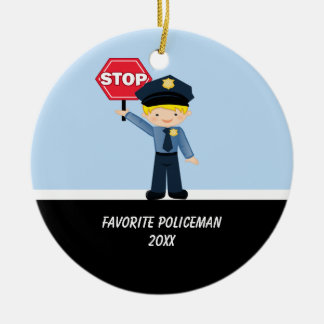 Adorable Policeman With Stop Sign Ornament