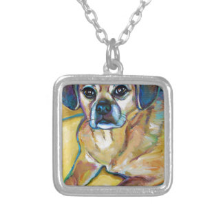 Adorable PUGGLE Silver Plated Necklace