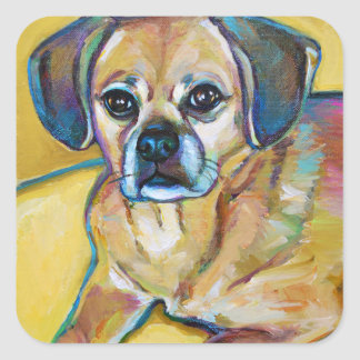 Adorable PUGGLE Square Sticker