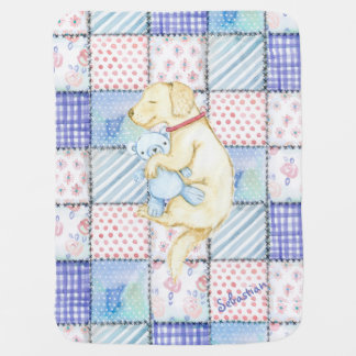 ADORABLE PUPPY, CUTE PUPPY DOG WITH TEDDY BEAR BABY BLANKET