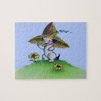 adorable puppy dog wearing big straw hat jigsaw puzzle