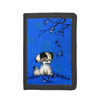 adorable puppy in autumn print tri-fold wallet