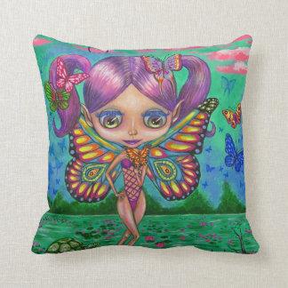 Adorable Purple Hair Fairy Girl & Water Lilies Throw Pillow