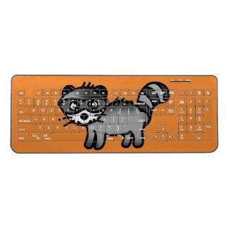adorable raccoon animal cartoon wireless keyboard