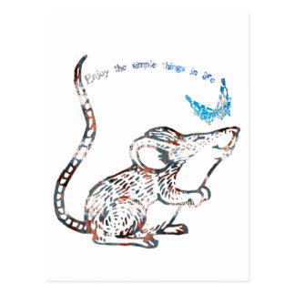 Adorable Rat and Butterfly Friendship Postcard