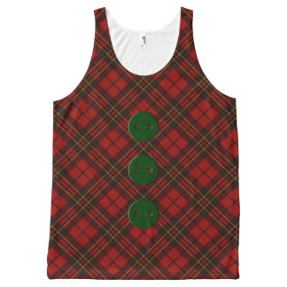 Adorable Red Christmas tartan and green buttons All-Over-Print Tank Top