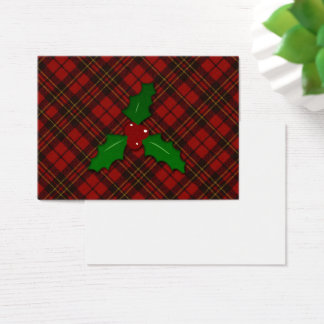 Adorable Red Christmas tartan look with Holly twig Business Card