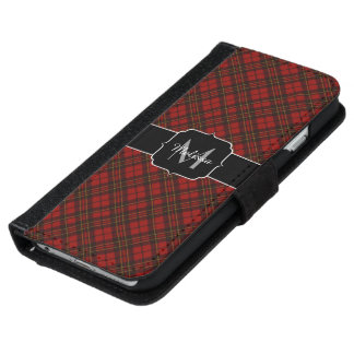 Adorable Red Christmas tartan Monogram iPhone 6 Wallet Case