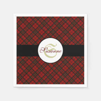 Adorable Red Christmas tartan Monogram Paper Napkins