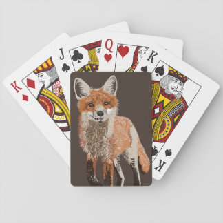Adorable Red Fox Painting Playing Cards