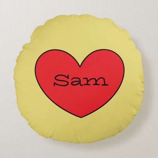 Adorable Red Heart Personalized Round Pillow