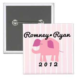 Adorable Republican Elephant, Romney/Ryan 2 Inch Square Button