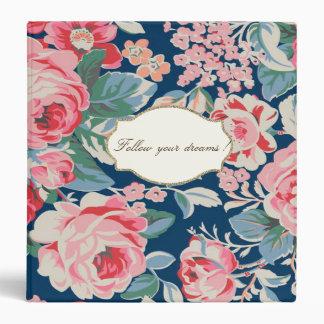 Adorable  Romantic Flowers -Motivational Message 3 Ring Binder