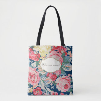 Adorable  Romantic Flowers -Motivational Message Tote Bag