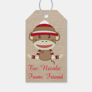 Adorable Rustic Custom Sock Monkey Party Pack Of Gift Tags