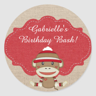 Adorable Rustic Custom Sock Monkey Party Round Sticker