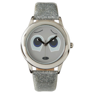 Adorable Sad Face Glitter Watch