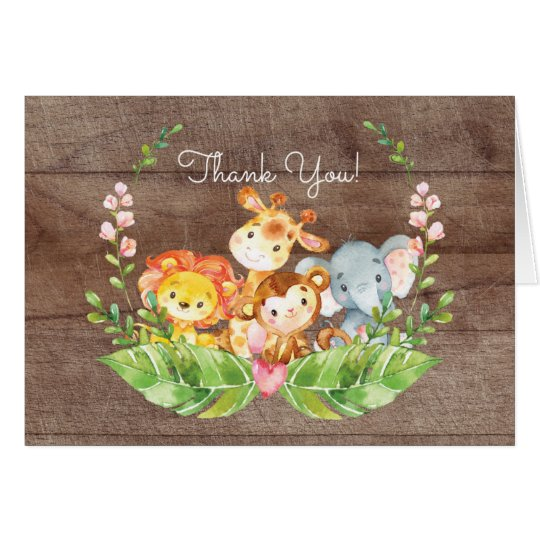 Adorable Safari Jungle Baby Shower Thank You Note Card