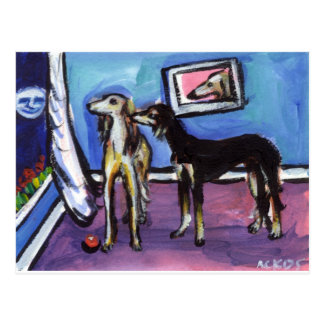 Adorable Saluki moon design Postcard