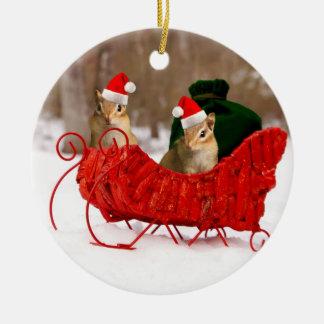 Adorable Santa Baby Chipmunks in Sleigh Ceramic Ornament