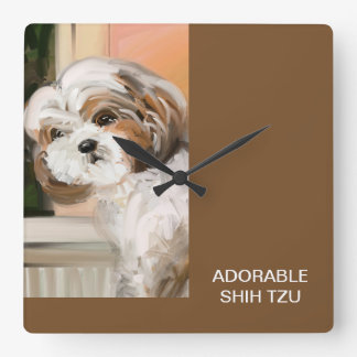 """Adorable ShihTzu"" Square Wall Clock"