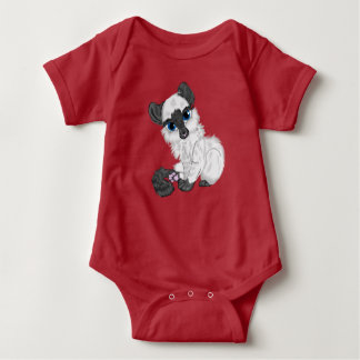 Adorable Siamese Fluffy Kitten Baby Bodysuit