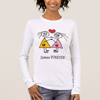 Adorable Sisters FOREVER Stick Figure Design Long Sleeve T-Shirt