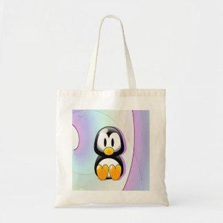 Adorable Sitting Cartoon Penguin Budget Tote Bag
