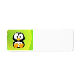 Adorable Sitting Cartoon Penguin Custom Return Address Labels