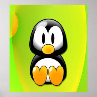 Adorable Sitting Cartoon Penguin Poster