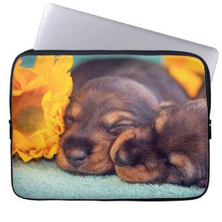 Adorable sleeping Doxen puppies Laptop Sleeve