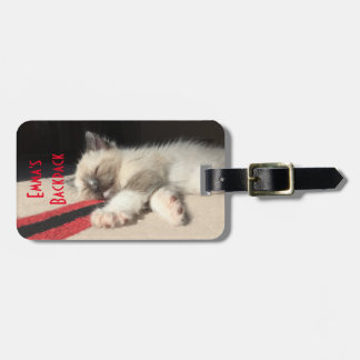 Adorable Sleeping Kitten Photograph Luggage Tag