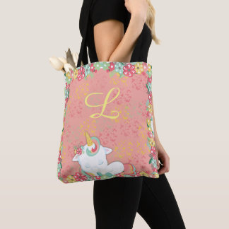 Adorable Sleeping Unicorn and Flowers Monogrammed Tote Bag