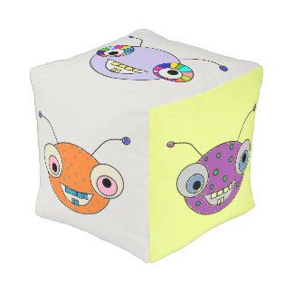 Adorable Smiley Aliens Colorful Pouf