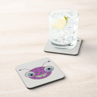 Adorable Smiley Purple Alien Head Design Coaster
