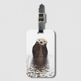 Adorable Smiling Otter in Lake Luggage Tag