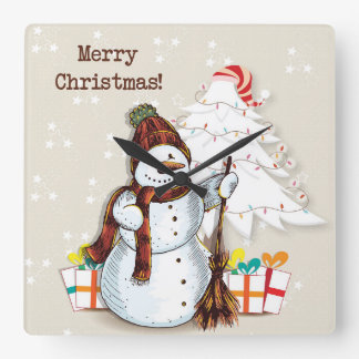 Adorable Snowman Holiday Wall Clock