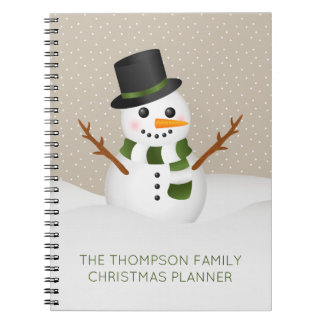 Adorable Snowman With Custom Title Christmas Notebooks