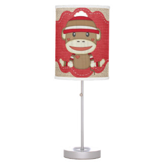 Adorable Sock Monkey Custom Baby Shower Gift Table Lamp
